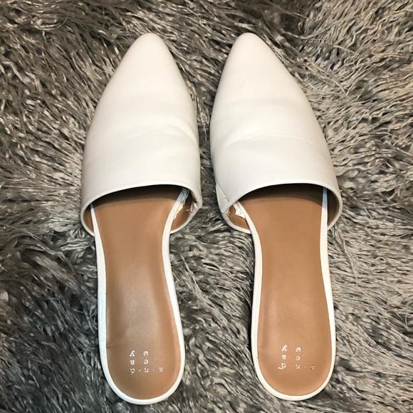 Shoes   White Flat Mules   Poshmark